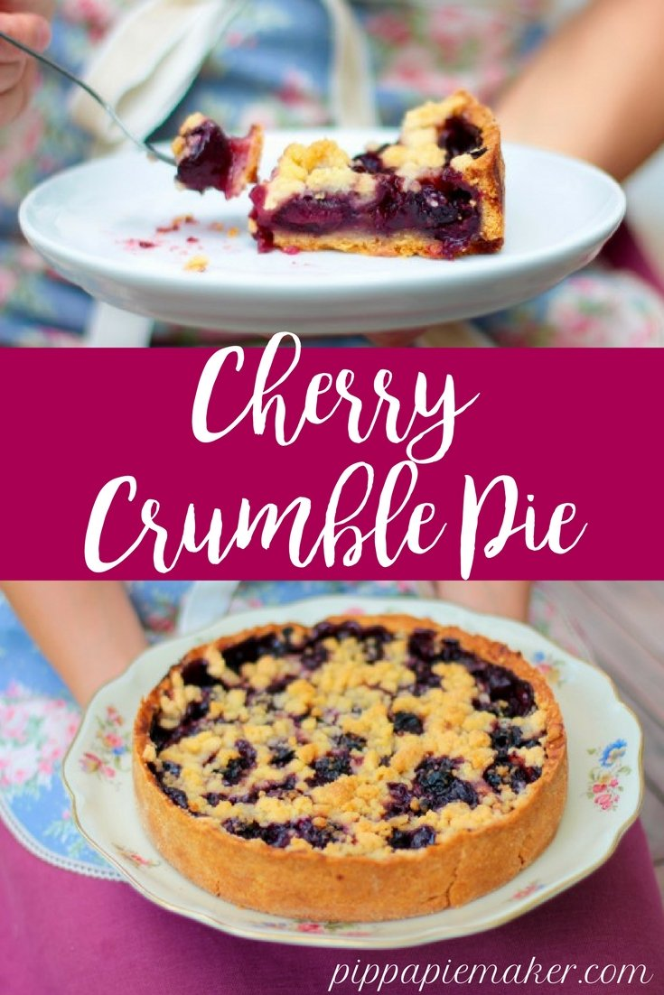 Cherry Crumble Pie by pippapiemaker.com