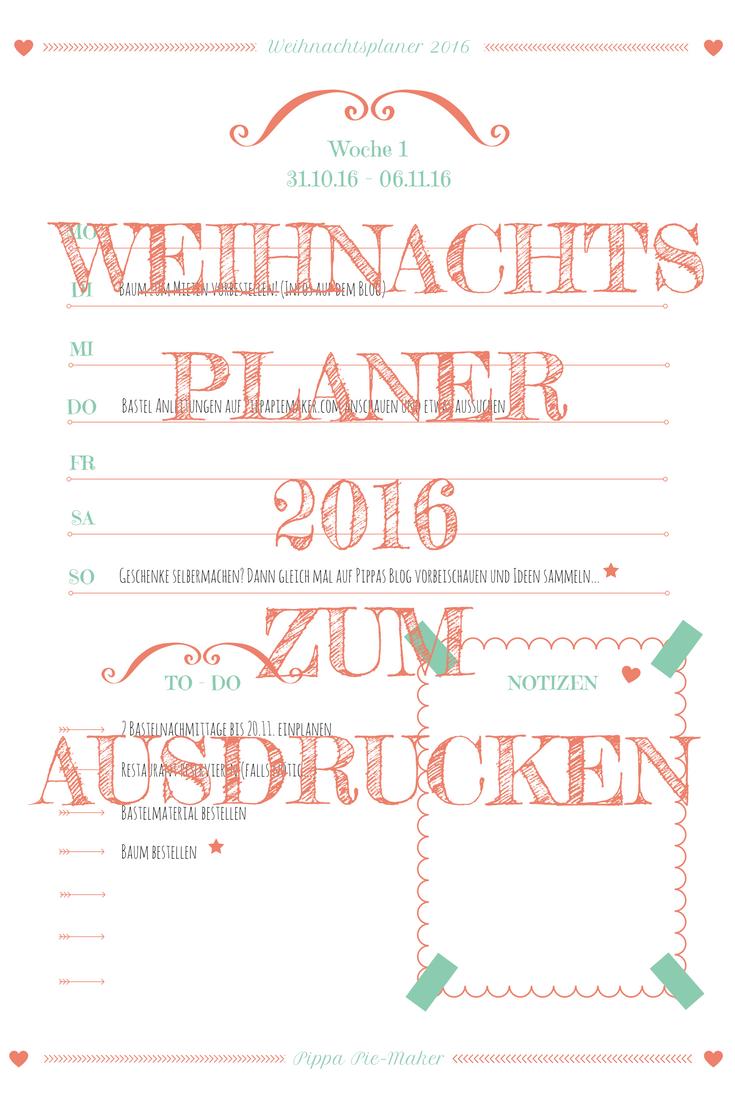 WEIHNACHTSPLANER 2016 zum kostenlosen ausdrucken