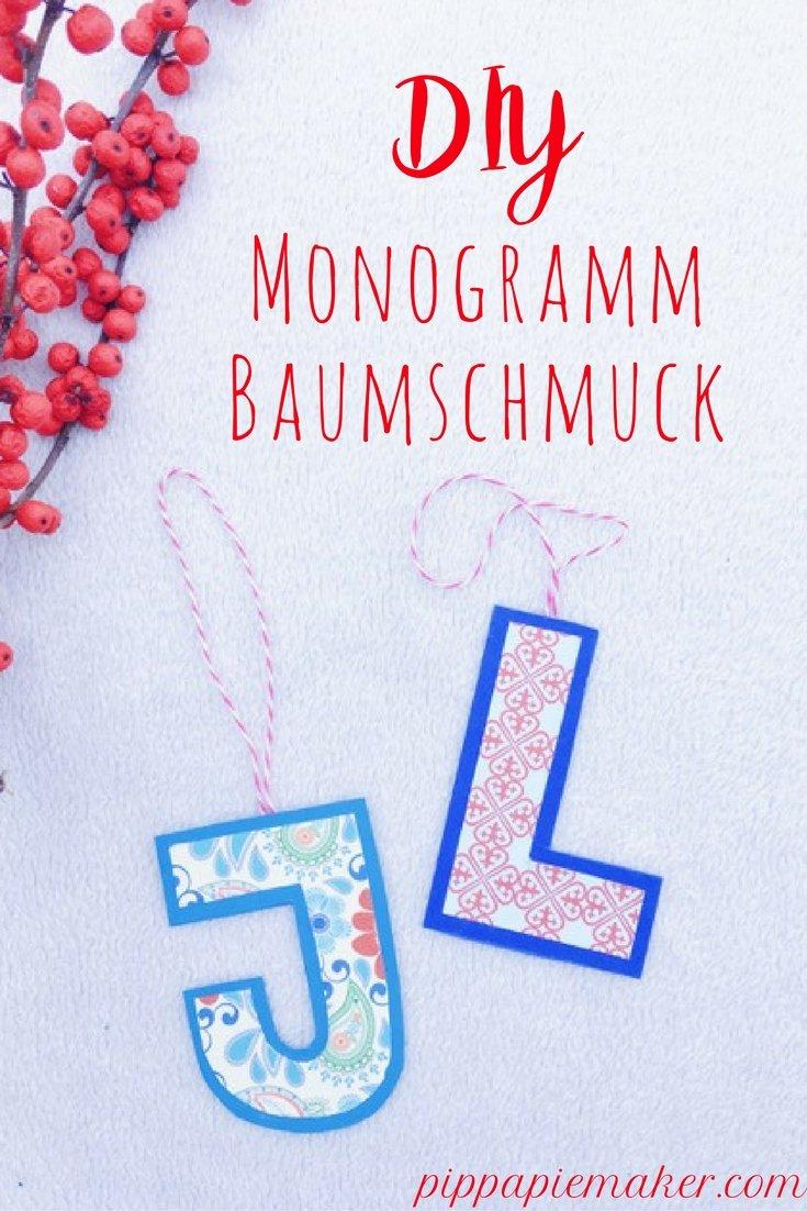 Buchtsaben Baumschmuck by pippapiemaker.com