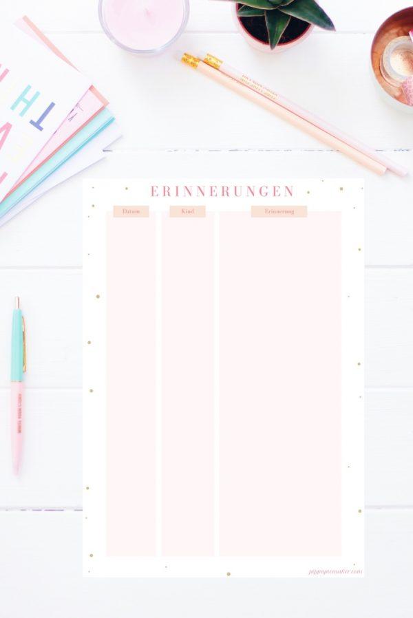 """Denkst du auch oft """"ich sollte das aufschreiben, was mein Kind heute gesagt oder getan hat""""? Diese Liste für Erinnerungen zum Ausdrucken kannst du immer zur Hand haben (an der Kühlschranktür? Im Planer?) und alle Erinnerungen unkompliziert festhalten. Die Liste für Erinnerungen gibt es auch im Happy Organizer Paket mit über 43 Organisationsseiten für alle Bereiche deines Mami Alltags: Rezeptkarten, Tagesplaner, Packliste, Fitness Tracker, Geburtstags-Checkliste, Wochenplan, Putzplan, Einkaufslisten, Speiseplan und vieles mehr!"""