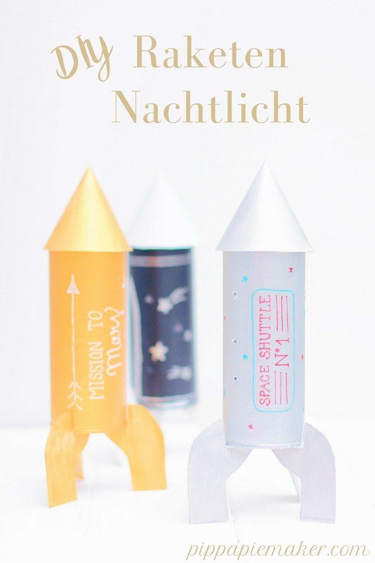 Schöne Upcycling Idee fürs Kinderzimmer: ein DIY Raketen Nachtlicht aus der Verpackung von Kneipp Badeperlen #werbung