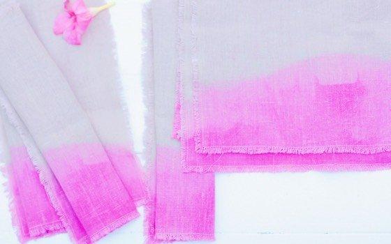 Dip dye färben: Sommerliche Boho Servietten