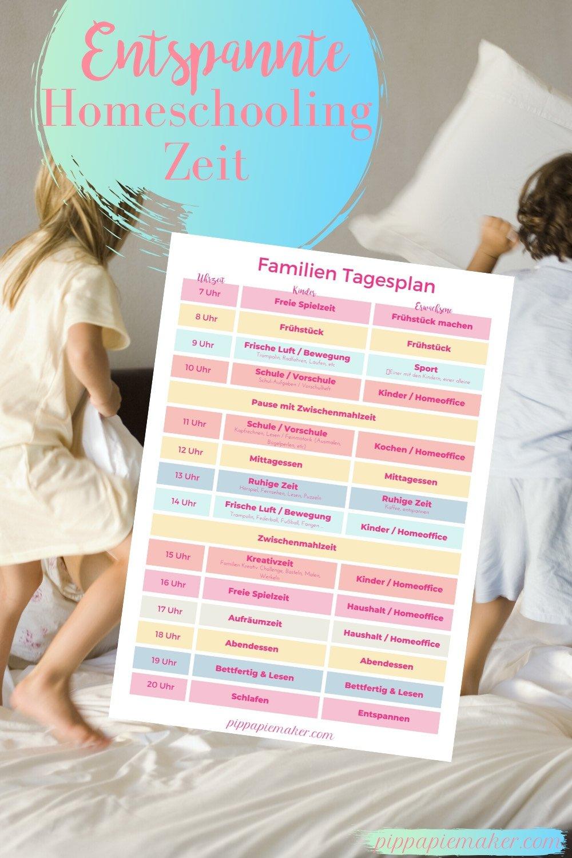 Dieser Tagesplan für die Homeschooling Zeit gibt dir Struktur für deine Familie. So kommt ihr entspannt und produktiv durch die Corona Ferien.